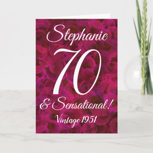 Abstract Red Rose 70 and Sensational Birthday Card