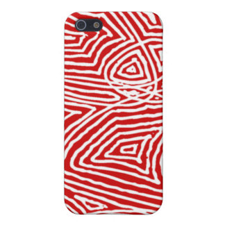 Abstract Red Scribbleprint Cover For iPhone SE/5/5s