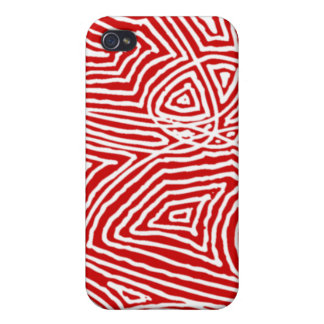 Abstract Red Scribbleprint Case For iPhone 4