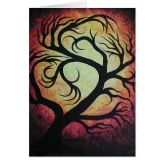 Abstract red tree greeting card