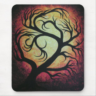 Abstract red tree mouse pad