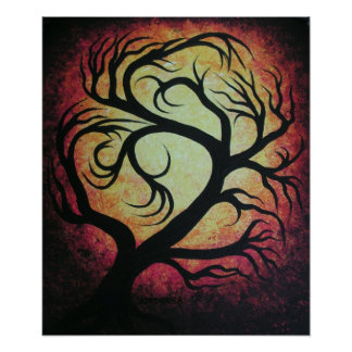 Abstract red tree-poster poster