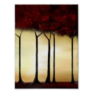 Abstract Red Trees Print