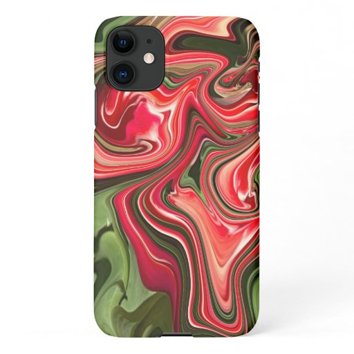 Abstract Red Tulip Floral Design iPhone 11 Case