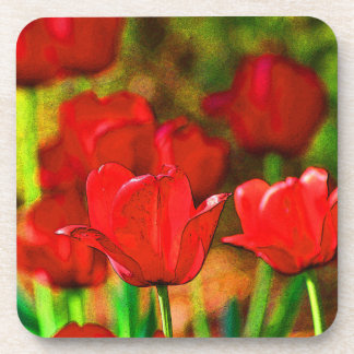 Abstract Red Tulips Coaster Set