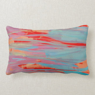 Abstract Red Turquoise Lavender Long Pillow