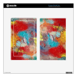 Abstract Red Turquoise Skin Skin For Kindle Fire