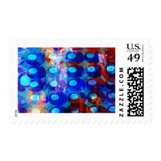 Abstract Red White and Blue Circles Postage