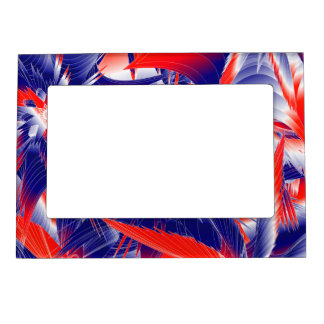 Abstract Red White and Blue Magnetic Photo Frame