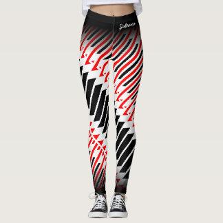 Abstract Red White Black Pattern Leggings