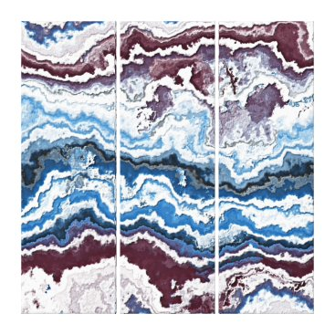 LolasArtAttic Abstract Red White Blue Minerals Agate Pattern Canvas Print