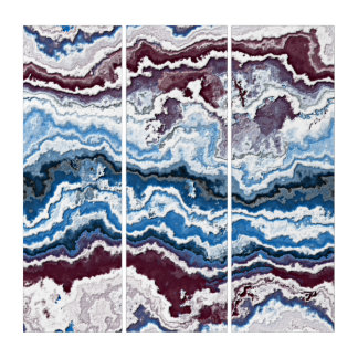 Abstract Red White Blue Minerals Agate Pattern Triptych