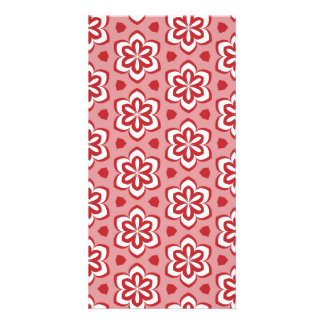 Abstract red white floral pattern. card