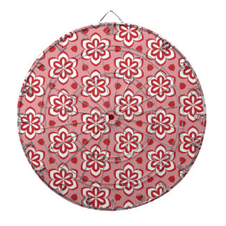 Abstract red white floral pattern. dartboard with darts