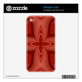 Abstract Red Wood Pattern Skin For The iPhone 4