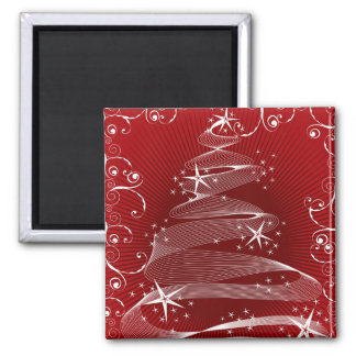Abstract Red X mas Tree Swirls Gift Magnet