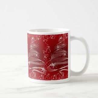 Abstract Red X'mas Tree & Swirls Mug