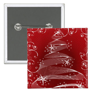 Abstract Red X'mas Tree & Swirls Name Tag / Gift / 2 Inch Square Button