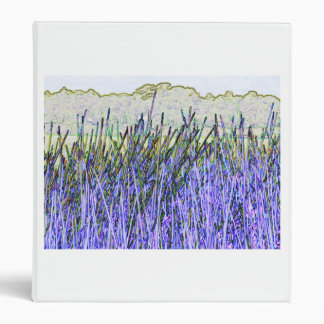 Abstract reeds In purple and white colors 3 Ring Binder