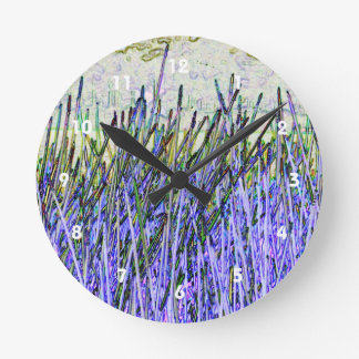 Abstract reeds In purple and white colors Wallclock