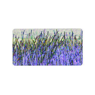 Abstract reeds In purple and white colors Address Label