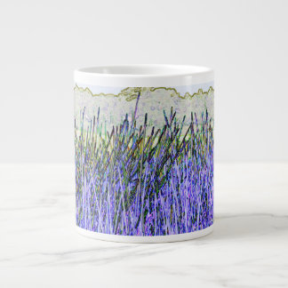 Abstract reeds In purple and white colors Large Coffee Mug
