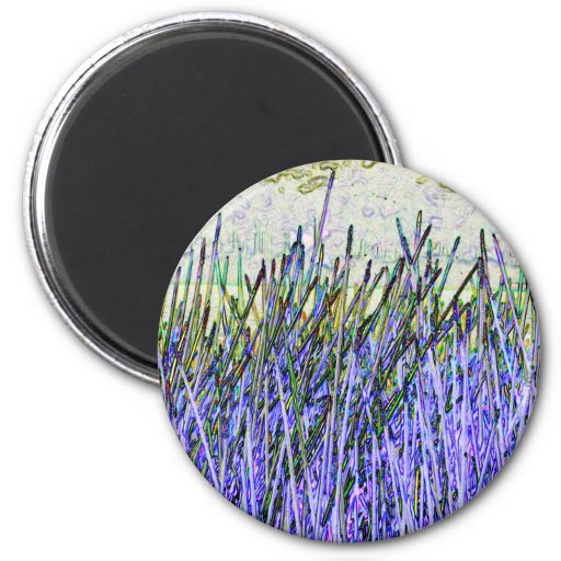 Abstract reeds In purple and white colors Refrigerator Magnets