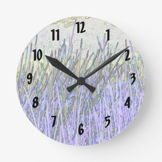 Abstract reeds In purple and white colors Round Clock