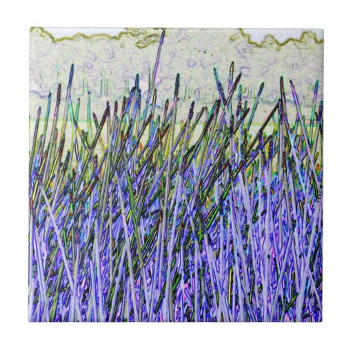 Abstract reeds In purple and white colors Tile