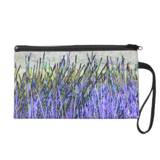 Abstract reeds In purple and white colors Wristlet Purse