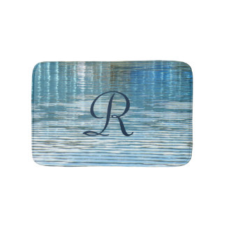 Abstract Reflection Monogrammed Plush Bath Mat
