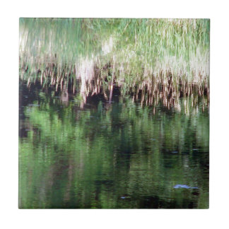 Abstract Reflection on the Water Small Square Tile
