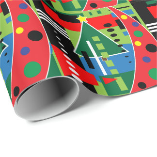 Abstract Retro Christmas Wrapping Paper