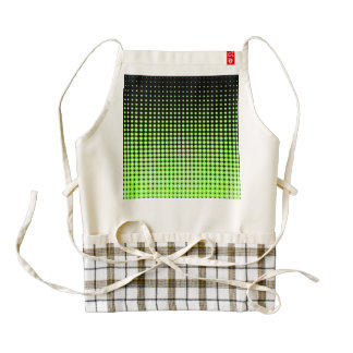 Abstract Retro Green and Black Halftone Background Zazzle HEART Apron