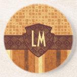 Abstract Retro Grunge Amber Brown Orange Patterns Drink Coasters