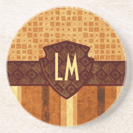 Abstract Retro Grunge Amber Brown Orange Patterns Coaster