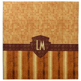 Abstract Retro Grunge Amber Brown Orange Patterns Napkin