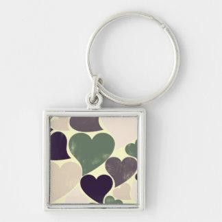 Abstract Retro Hearts Keychain