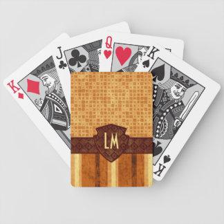 Abstract Retro Monogram Amber Brown Orange Pattern Bicycle Playing Cards