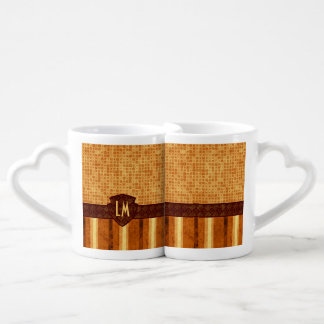 Abstract Retro Monogram Amber Brown Orange Pattern Coffee Mug Set