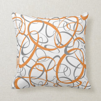 Abstract Retro Orange Gray Rings Pattern Throw Pillow