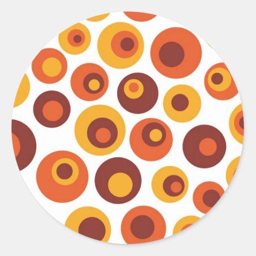Abstract retro round round stickers