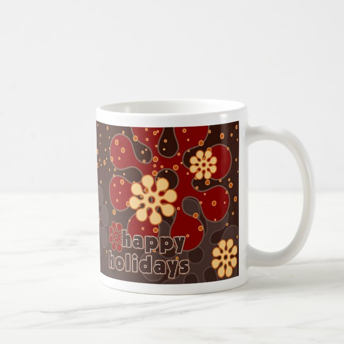 Abstract Retro Snowflakes Mug in Red