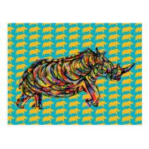 Abstract Rhino Art Postcard