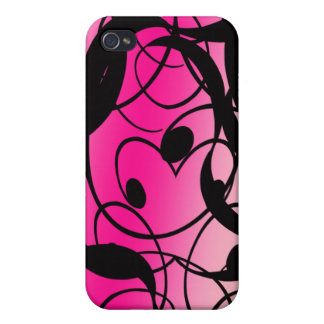 Abstract Ribbon Gradient Hot Pink and Black Cover For iPhone 4