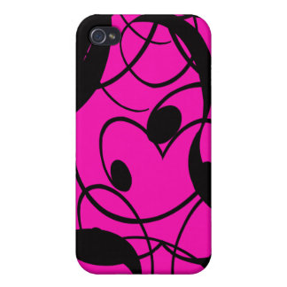 Abstract Ribbon Hot Pink and Black iPhone 4/4S Cases