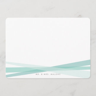 Abstract Ribbons Stationery - Teal Note Card