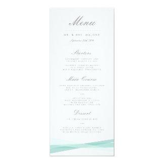 Abstract Ribbons Wedding Dinner Menu - Blue Invite