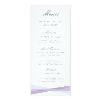 Abstract Ribbons Wedding Dinner Menu - Purple Card