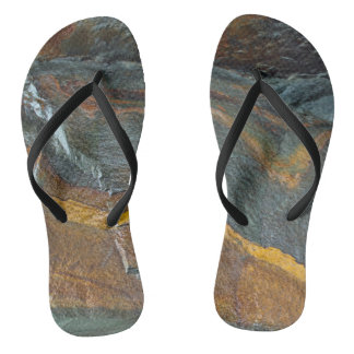 Abstract rock art flip flops